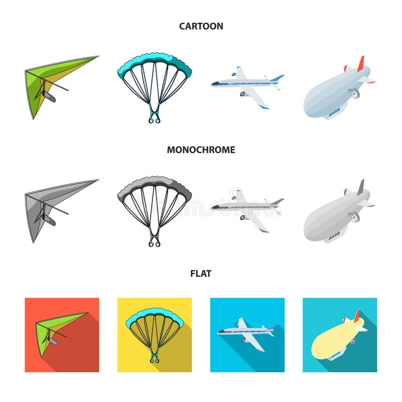 Isolerat objekt av transport- och objektsymbolet St?ll in av transport och att glida materielvektorillustrationen stock illustrationer
