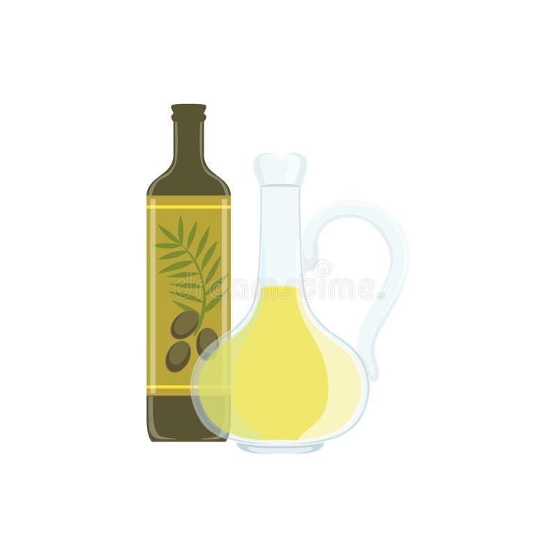 Isolerat objekt för Olive Oil Baking Process And kök utrustning stock illustrationer