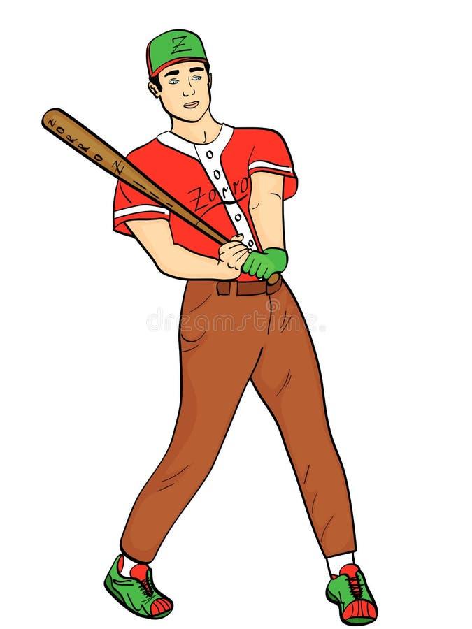 Isolerat objekt på vit bakgrund, sommarfärg En man, en yrkesmässig basebollspelare, en idrottsman nen Han slår bollen royaltyfri illustrationer