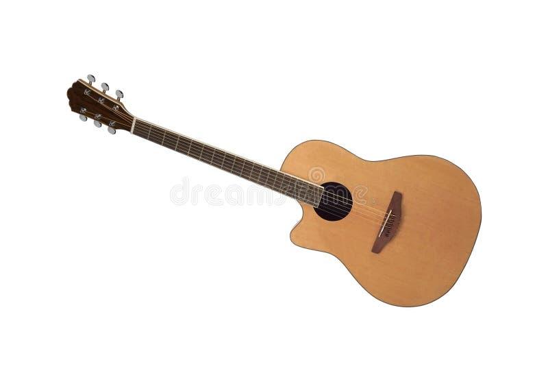 Isolerat på den vita akustiska gitarren arkivbilder