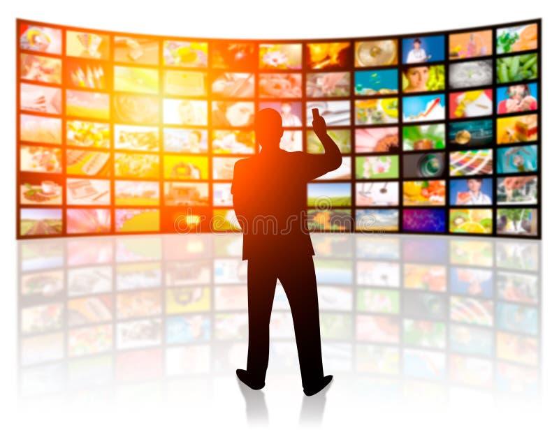 Isolerat på vit bakgrund TVfilmpaneler arkivfoton