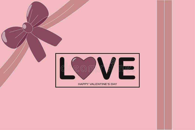 isolerat på vit som är selektiv fokusera Förälskelse Text med hjärta med pilbågen illustration för gåva för bakgrundskortdesign d stock illustrationer