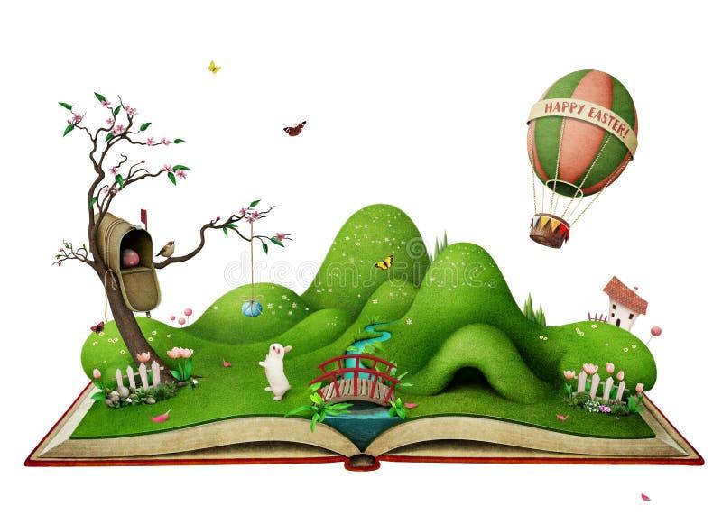 Isolerat påskvårlandskap på boken stock illustrationer