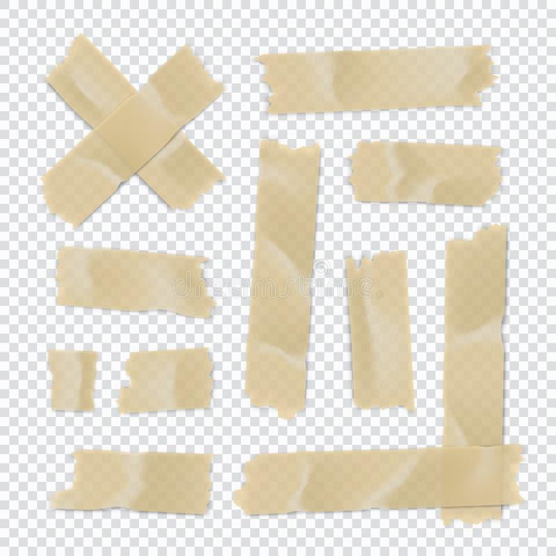 Isolerat p? vit Klibbig pappers- remsa som isoleras på genomskinlig bakgrund ocks? vektor f?r coreldrawillustration vektor illustrationer
