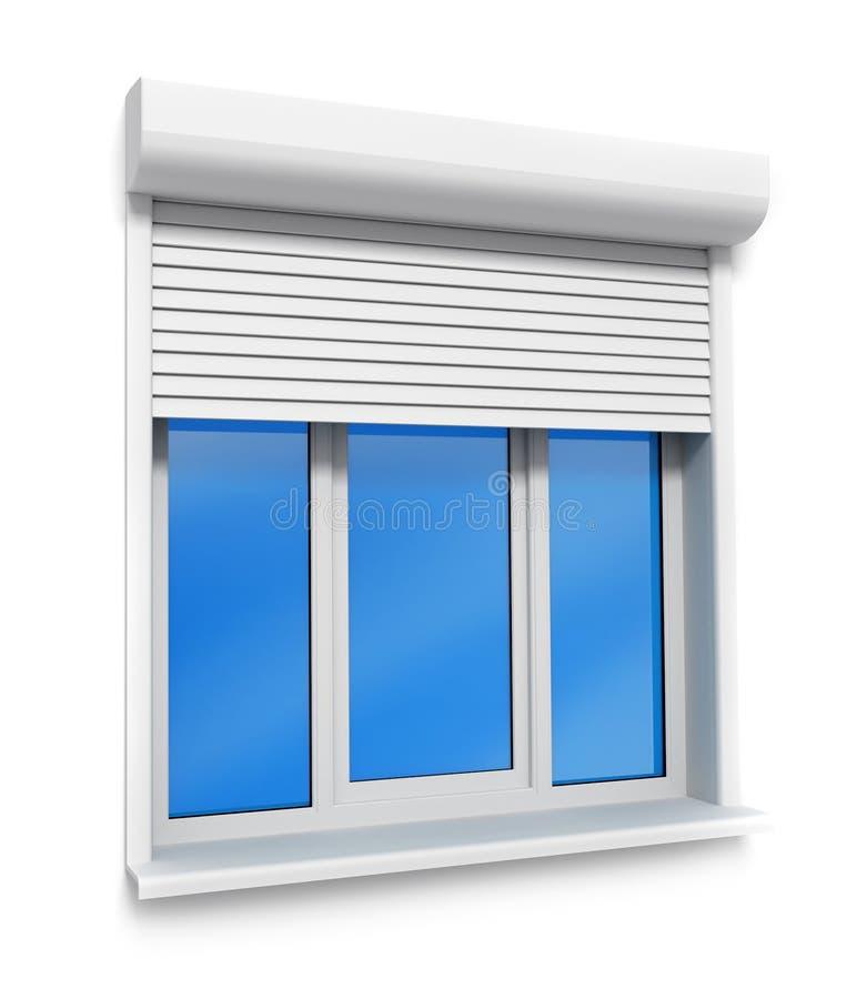 isolerat plastic väggwhitefönster stock illustrationer