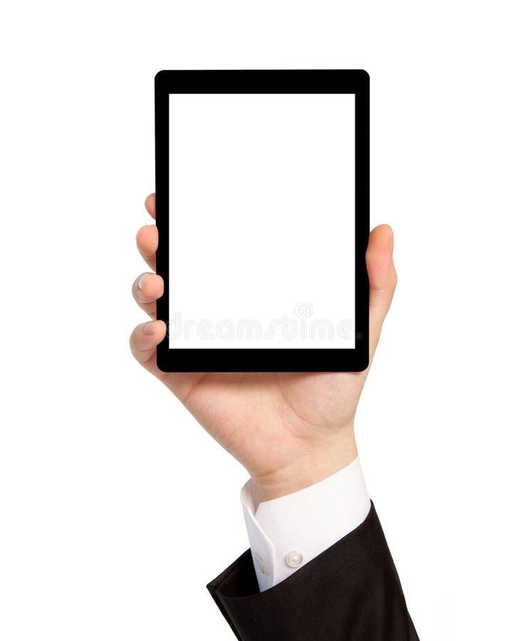 Isolerat räcka av ett affärsmaninnehav en tablet med isolerad sc royaltyfri foto