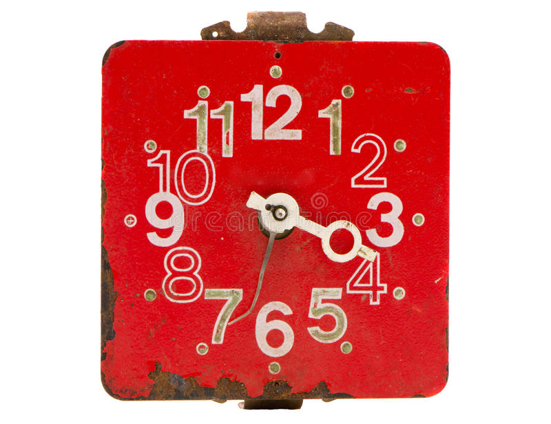 isolerat rött retro för klockavisartavla royaltyfria bilder