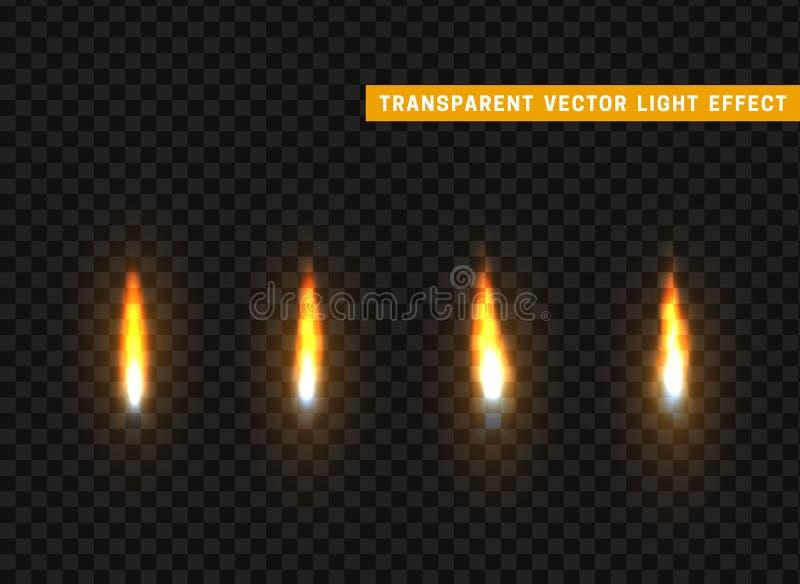 Isolerat realistiskt för brandflammor uppsättning vektor illustrationer