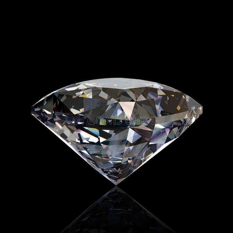 isolerat runt för diamant gemstone royaltyfri bild