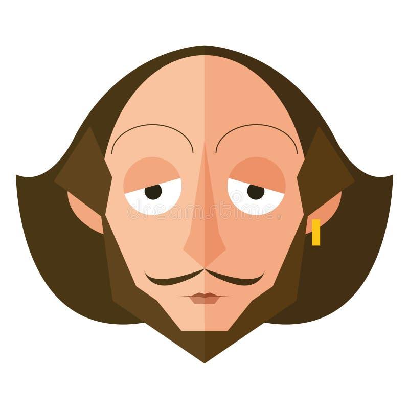 Isolerat Shakespeare tecken royaltyfri illustrationer