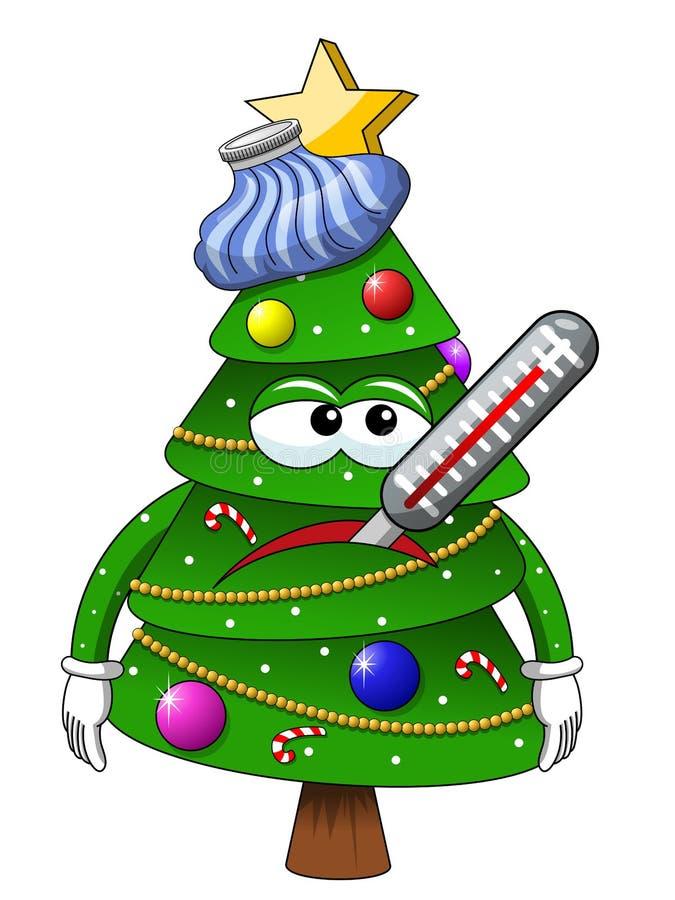 Isolerat sjukt för tecken för maskot för Xmas-julträd vektor illustrationer