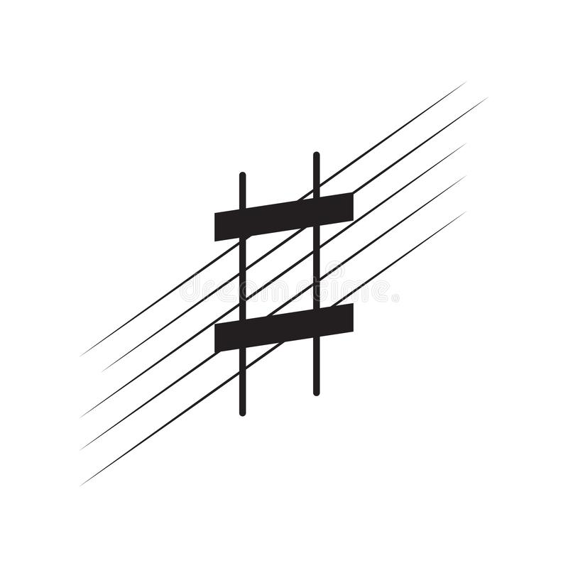 Isolerat skarpt förtecken på en pentagram vektor illustrationer