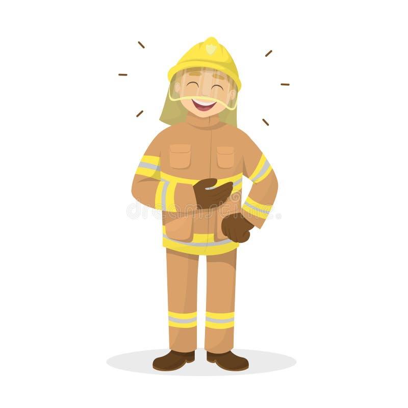 Isolerat skratta brandmannen vektor illustrationer