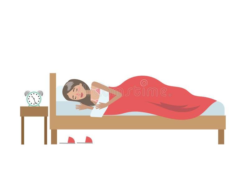 Isolerat sova kvinnan stock illustrationer