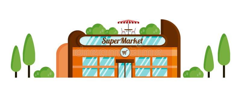 Isolerat supermarketobjekt med sommarkafét på taket på en vit bakgrund stock illustrationer