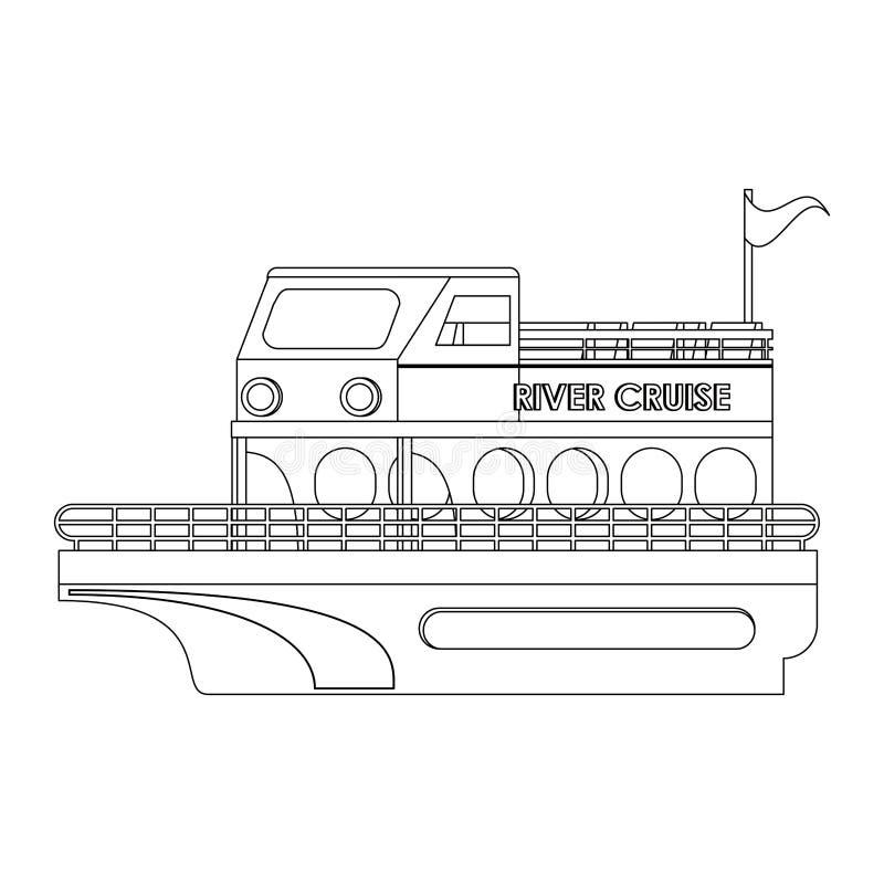 Isolerat symbol för flodkryssning fartyg i svartvitt vektor illustrationer