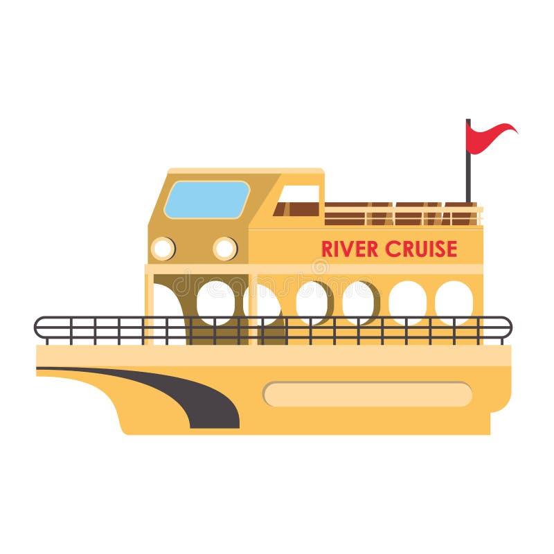 Isolerat symbol för flodkryssning fartyg royaltyfri illustrationer