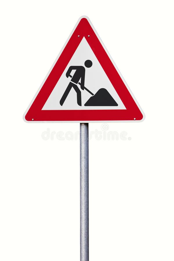 Isolerat tecken för trafik för vägarbeten framåt royaltyfri bild