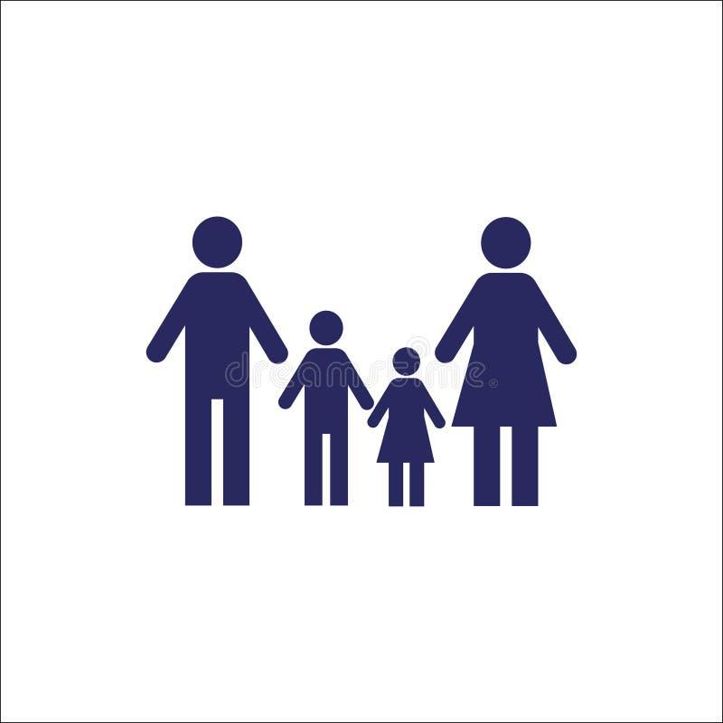 Isolerat teckensymbol för familj symbol stock illustrationer