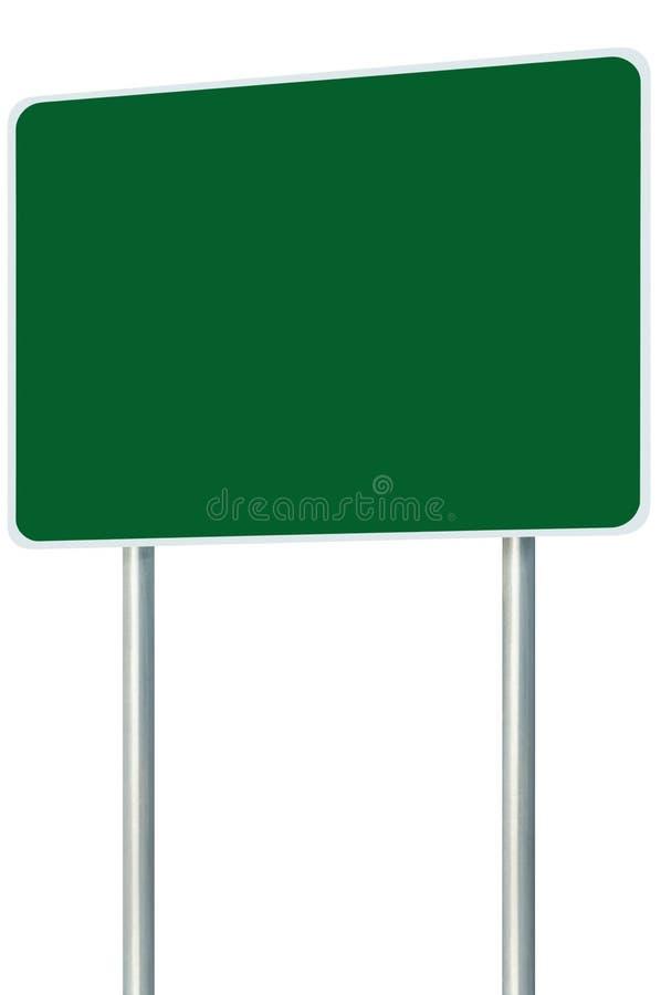 Isolerat tomt grönt tecken för skyltvägnamn, stort perspektivkopieringsutrymme, vit för Pole för ramvägrenvägvisare Signage för n royaltyfri fotografi