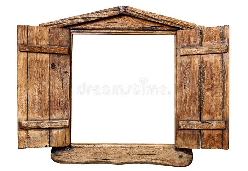 Isolerat träfönster fotografering för bildbyråer