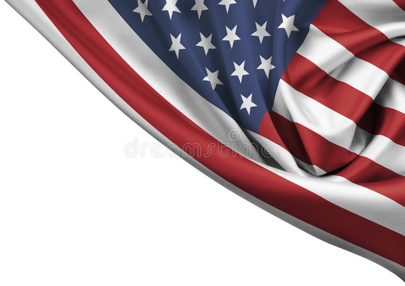 Isolerat USA vinkande flaggahörn arkivbild