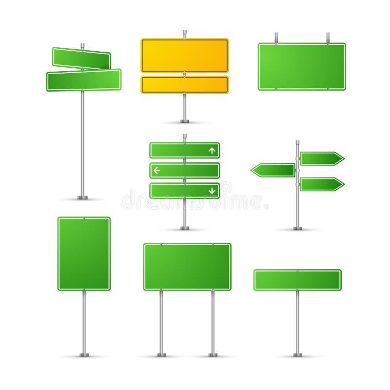isolerat vägmärke Tecken för huvudvägtrafikgräsplan Plattor för vektor för information om trans.väg isolerade vektor illustrationer