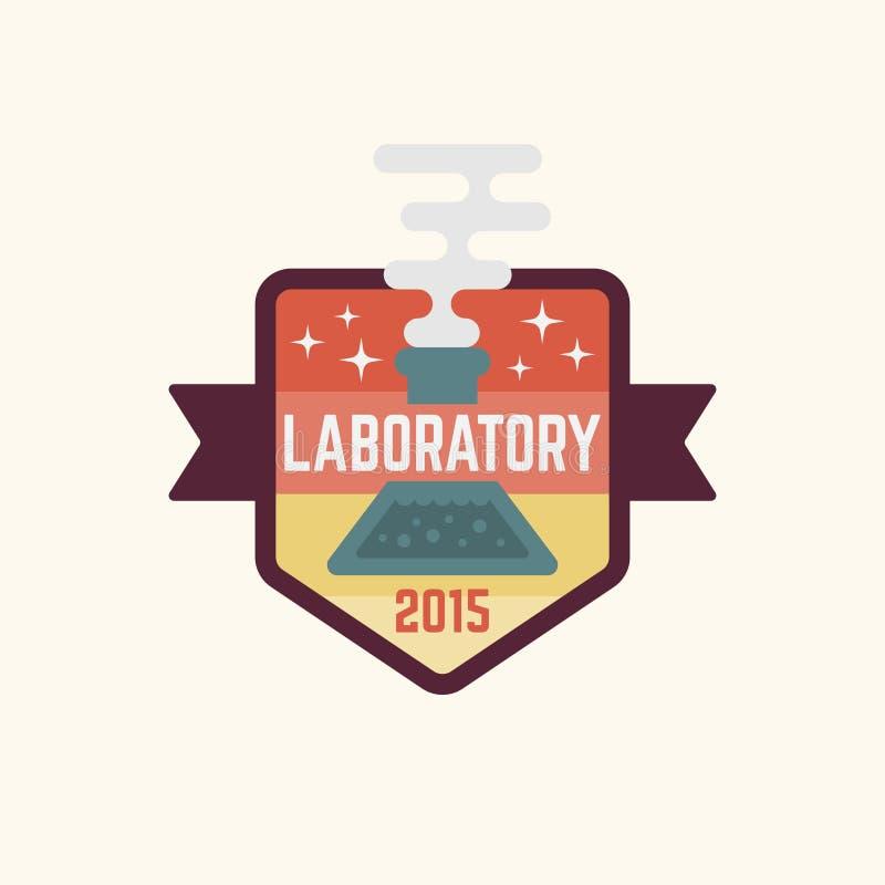 Isolerat vektor färgat emblem för kemilaboratorium stock illustrationer