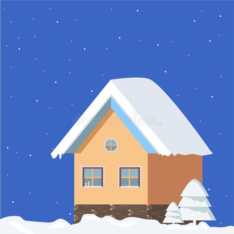 Isolerat vinterlandskap på en blå fyrkant, festlig atmosfär för nytt år med en gullig julgran på en nattbakgrund royaltyfri illustrationer