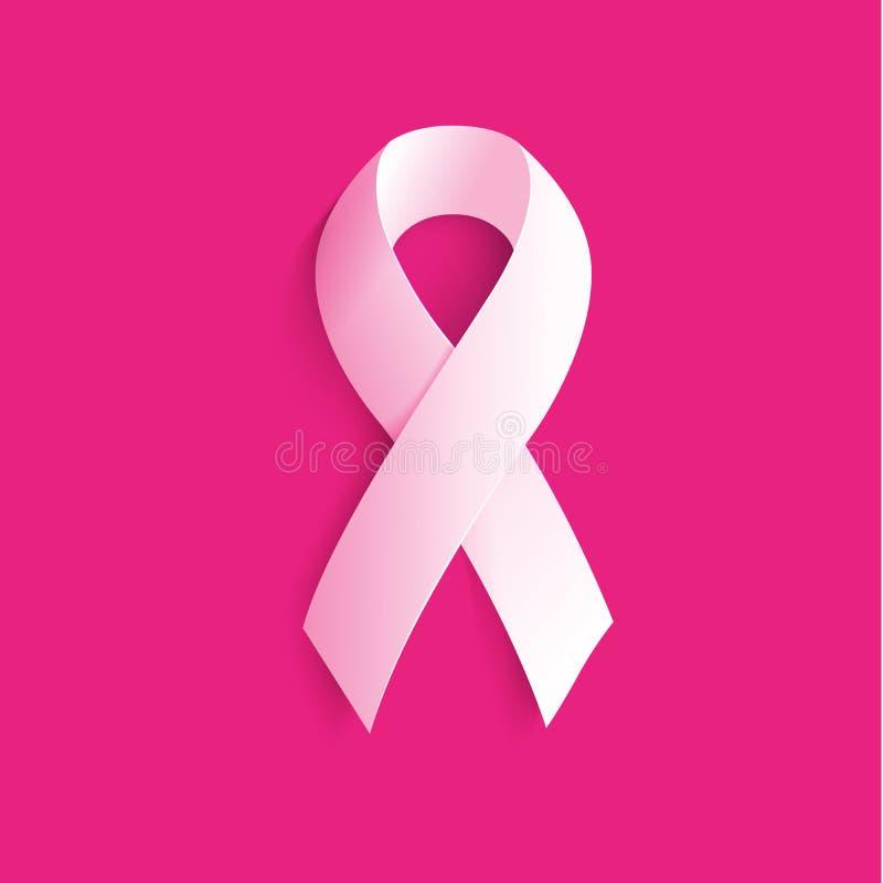 Isolerat vitt färgband på den rosa bakgrundslogoen Mot cancerlogotyp Stoppa sjukdomsymbolet internationellt vektor illustrationer