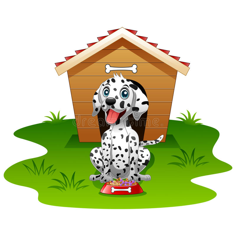 Isolerat wood hus för Dalmatian hund stock illustrationer