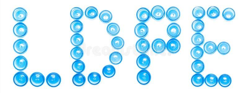 Isoleren de blauwe plastic kruiken van de tekenbenoeming op een witte achtergrond woordldpe, Lage dichtheidspolyethyleen, recycle royalty-vrije illustratie