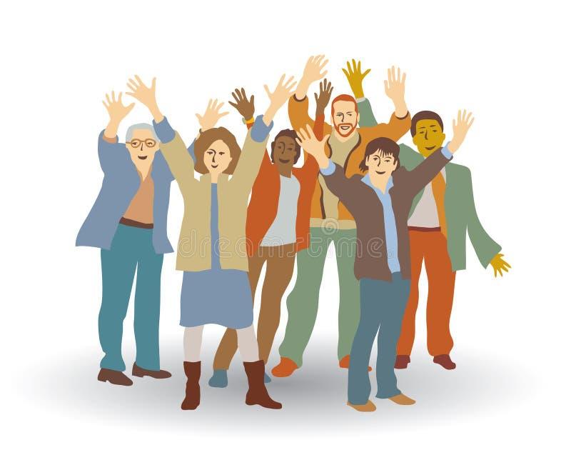 Isoleren de groeps gelukkige mensen op wit stock illustratie