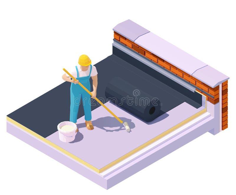 Isolering av vektorisometriska arbetare med platt tak royaltyfri illustrationer
