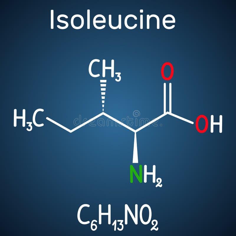 Isoleucina l isoleucina, Ile, molécula del aminoácido de I Se utiliza en la biosíntesis de proteínas fórmula química estructural ilustración del vector