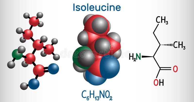 Isoleucina l isoleucina, Ile, molécula del aminoácido de I Se utiliza en la biosíntesis de proteínas fórmula química estructural libre illustration