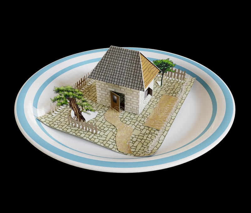 isolez la maison du plat avec le concept bleu d'entreprise immobilière de frontière photos libres de droits