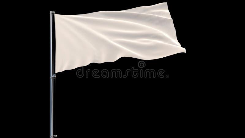 Isolez le drapeau blanc sur un mât de drapeau flottant dans le vent sur un fond noir, le rendu 3d photos libres de droits