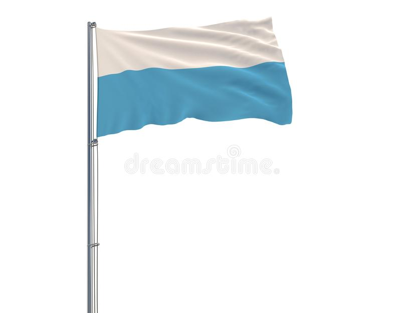 Isolez le drapeau civil du Saint-Marin sur un mât de drapeau flottant dans le vent sur un fond blanc, le rendu 3d illustration libre de droits