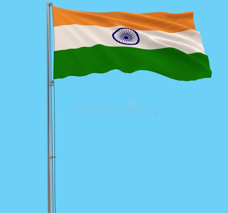 Isolez le drapeau de l'Inde sur un mât de drapeau flottant dans le vent sur un fond bleu, le rendu 3d photos libres de droits