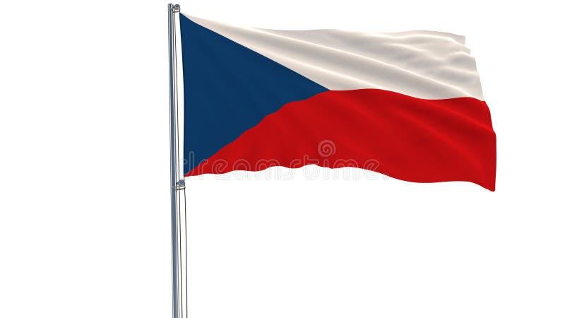 Isolez le drapeau de la République Tchèque sur un mât de drapeau flottant dans le vent sur un fond blanc, le rendu 3d image stock
