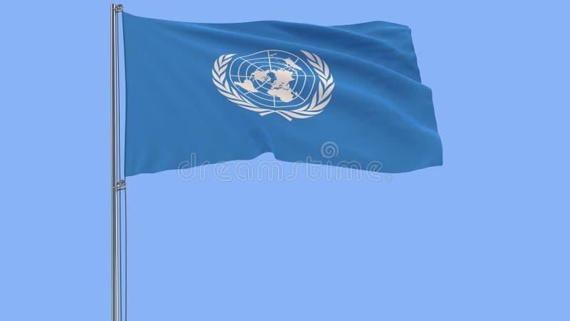 Isolez le drapeau des Nations Unies - l'ONU sur un mât de drapeau flottant dans le vent sur un fond bleu, le rendu 3d illustration libre de droits
