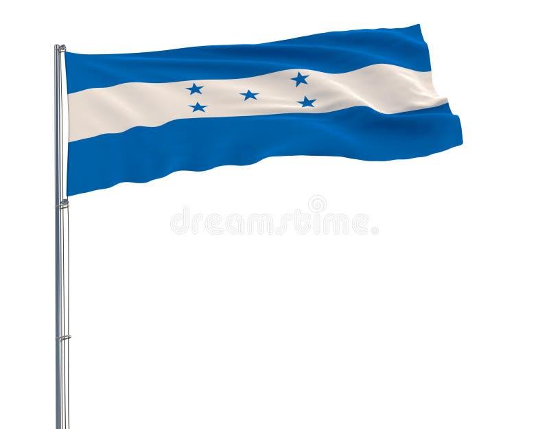 Isolez le drapeau du Honduras sur un mât de drapeau flottant dans le vent sur le fond blanc, le rendu 3d illustration libre de droits