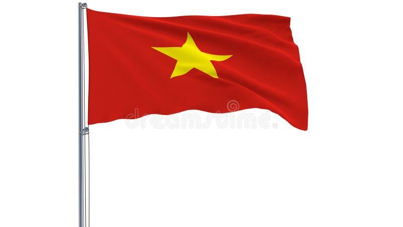 Isolez le drapeau du Vietnam sur un mât de drapeau flottant dans le vent sur un fond blanc, le rendu 3d image stock