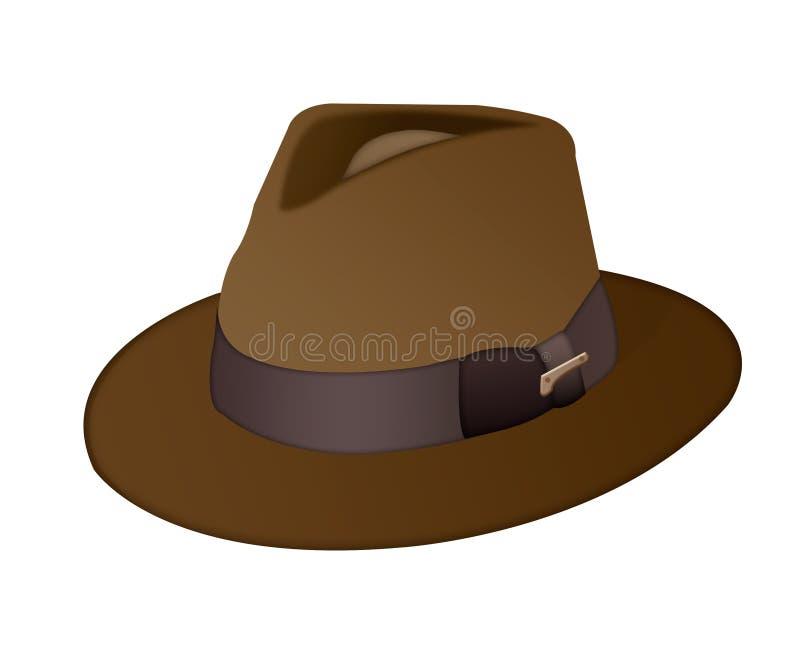 Isoliermänner ` s Braunhut auf einem weißen Hintergrund Männer ` s Hut mit vektor abbildung