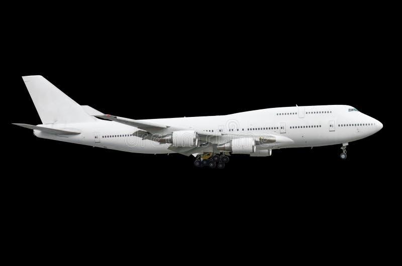 Isolierte Zweigeschoss-Flugzeugflugzeug des großen Passagiers lokalisierte das weiße schwarzen Hintergrund stockfoto