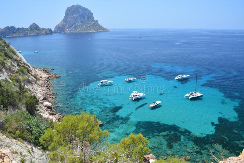 Isolotto di es Vedra dell'isola di Ibiza immagini stock libere da diritti