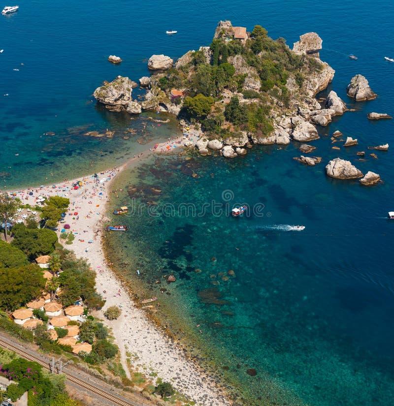 Isolotto di Taormina Isola Bella, Sicilia fotografia stock
