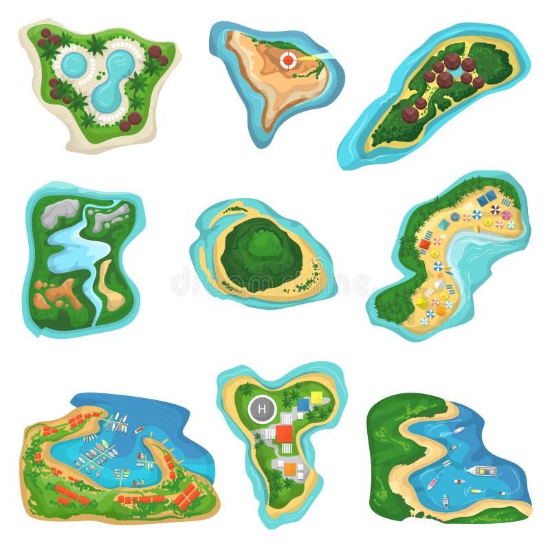 Isolotto o penisola di vettore dell'isola con l'insieme dell'illustrazione del mare dell'oceano e della spiaggia delle isole di p illustrazione di stock
