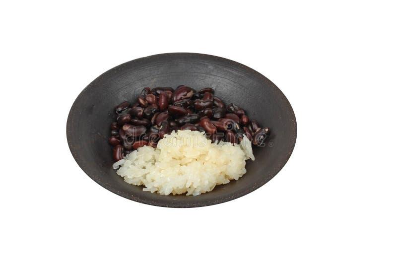 Isolted del postre tailandés Alubia negra y arroz pegajoso en coc dulce imagenes de archivo